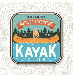 kayak club patch concept for vector image