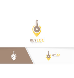 Key and map pointer logo combination lock vector