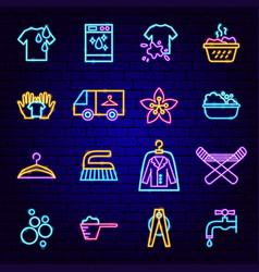laundry room neon icons vector image