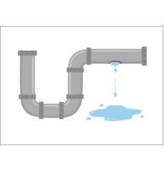 leaking pipe with flowing water vector image