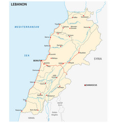 lebanon road map vector image