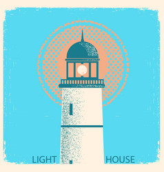 lighthouse vintage poster on old paper texture vector image
