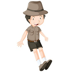Little boy wearing safari outfit vector image