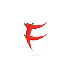 Logo red chili pepper letter f vector