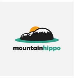 minimalist mountain hippo landscape logo icon vector image
