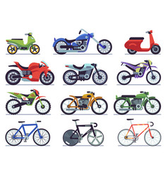 motorcycle set motorbike and scooter sport bike vector image