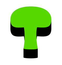 Mushroom simple sign green 3d icon with vector