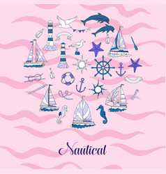 Nautical background hand drawn elements vector