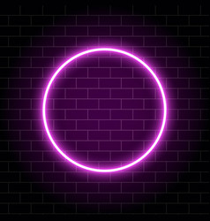 neon circle lamp isolated on brick wall pink vector image