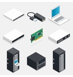 Networking isometric detailed icons set vector