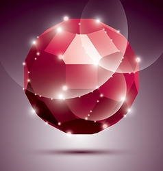 Party dimensional red sparkling disco ball vector image