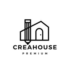 Pencil house creative outline logo icon vector