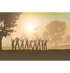 People dancing in the countryside vector image