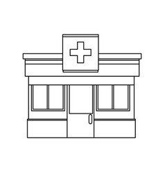 Pharmacy drugstore building front view symbol vector