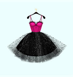 Pink and black dress vector
