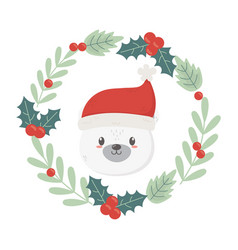 polar bear wreath holly berry celebration merry vector image