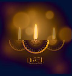 Premium diwali old style design with creative diya vector