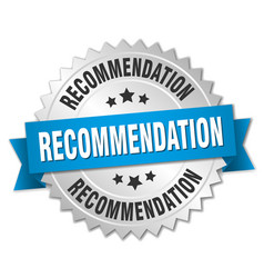 Recommendation round isolated silver badge vector