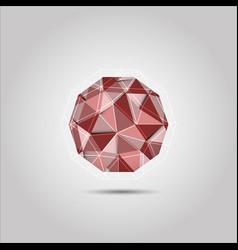 red polygon sphere shape icon vector image
