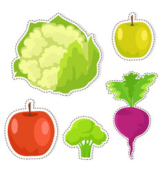 Ripe fruits and vegetables stickers set vector