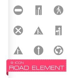 Road element icon set vector