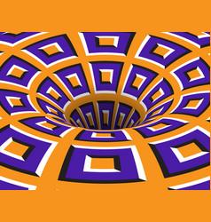 Rotating hole moving purple orange squares vector