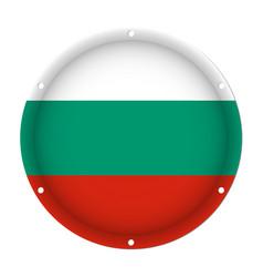 round metallic flag of bulgaria with screw holes vector image