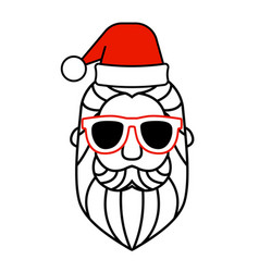 santa claus hat and sunglasses icon vector image
