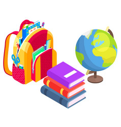 Satchel with books and globe geography lesson vector