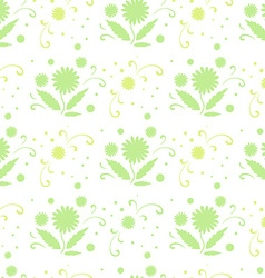 Seamless pattern with green flowers and leaves vector