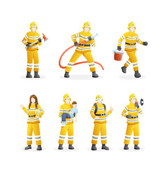 set firefighters put out fires and save vector image