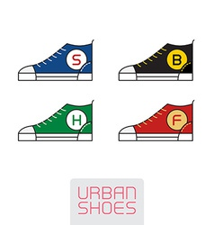 Set of Stylized sneakers Outline urban shoes Sport vector image vector image
