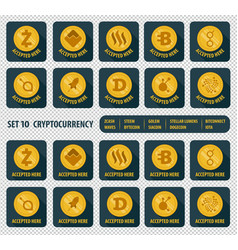 set of ten different cryptocurrency icon vector image