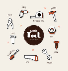 set tools icons doodle vector image