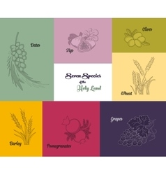 Seven species holy land jewish holiday vector