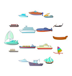 ship and boat icons set cartoon style vector image