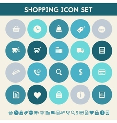 Shopping icon set Multicolored flat buttons vector image