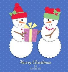 Snowmen christmas card vector