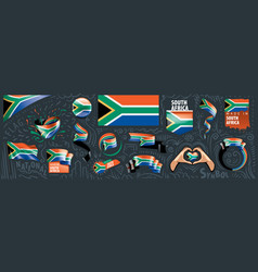 South africa flag on a white vector