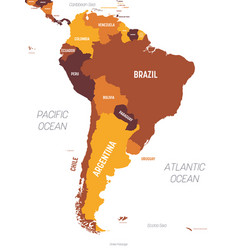 South america map - brown orange hue colored on vector