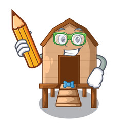 Student chiken coop isolated on a mascot vector
