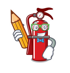 Student fire extinguisher character cartoon vector