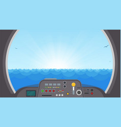Submarine inside view vector