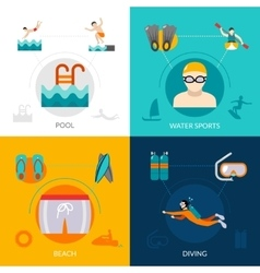 Swimming Flat Set vector image