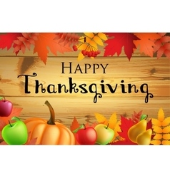 thanksgiving greeting card with leaves pumpkin on vector image
