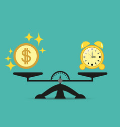 time is money business concept balance scales vector image