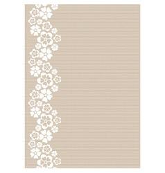 Vertical white lacy flower border vector