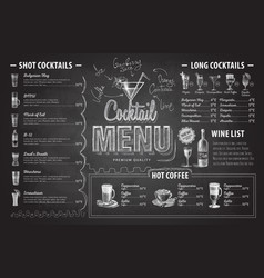 vintage chalk drawing cocktail menu design vector image
