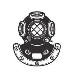 Vintage style diver helmet isolated on white vector
