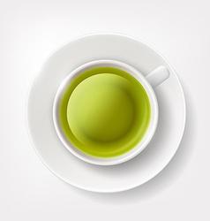 White cup of green tea vector